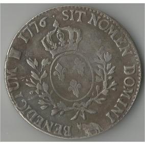 Moeda De Prata Da França ½ (meio) Écu - Louis Xvi - 1776