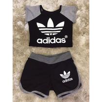 Conjunto Academia Ftnes Cropped Blusa Adidas E Shorts Suplex