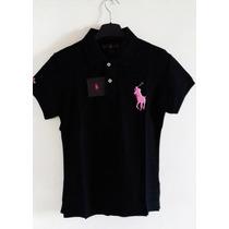 Camisa Polo Ralph Lauren Preta Feminina Big Poney Import.g