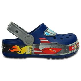 Zapato Crocs Niño Crocslights Galactic Clog Azul Con Luces