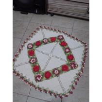 Tapete De Crochê Quadrado Vermelho E Cru 105 X 105 Cm