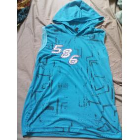 Camiseta Masculina Machão Com Capuz Azul Claro