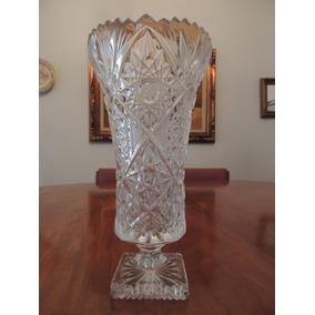 Antigo Vaso Em Cristal Bohemia Lapidado Novo Vintage Lindo