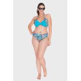 Parte De Cima - Top Plus Size Natalie Escamas Azul-0050