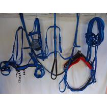 Arreio De Charrete Nylon Especial Em Fita Tripla - Cor Azul