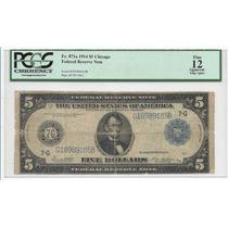Billete Antiguo 5 Dolares 1913 Tamaño Grande Certificado