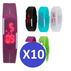 Pack 10 Reloj Led De Silicona Delgado Unisex Deportivos Gocy