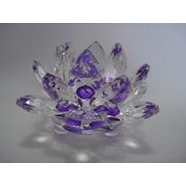 Flor De Lótus De Cristal Roxa 9cm