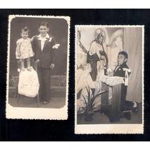 1ª Comunhão -2 Fotos De Menino Com Fita No Braço.