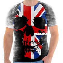 Camiseta Camisa Caveira Bandeira Inglaterra Skull England 05