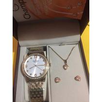 Relógio Champion Conjunto Colar E Brinco Cn27901w