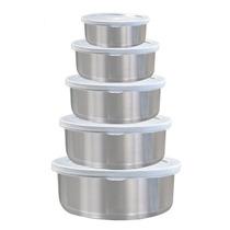 Conjunto De Potes Hermético Inox 5 Peças C/ Tampa Plástica