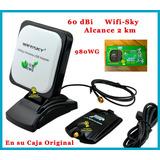 Antena Internet Usb Wifisky 980wg Auditar 5800mw 60dbi 2 Km