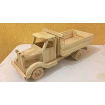 Caminhão De Madeira Artesanal Decorativo Ou Brinquedo