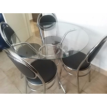 Mesa Cromada Com Tampo De Vidro + 4 Cadeiras