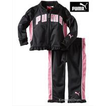 Conjunto Nina Puma 12 Meses Negro Rosa Sudadera Pants Bello!
