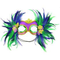 Enmascararlo 48035 Carnaval Raso Media Máscara Pluma Púrpura