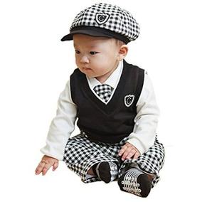 Sombrero + Pantalones Bebé Niños 5pcs + Camisa Blanca + Chal