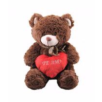 Urso De Pelúcia Te Amo 40cm Ursinho Marrom Fofy Toys Rsp