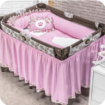 Quarto De Bebê Kit De Berço Desmontável Realeza 09 Pçs Rosa
