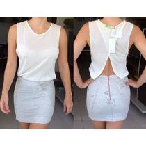 Vestido Espaço Fashion Detalhe Paetes Decote Costas T=p Novo