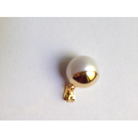 Dije De Perla 14mm Con Chapa De Oro De 22 Kilates