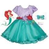 Vestido Festa Infantil Princesa Ariel Tam 1 Ao 5 Com Tiara