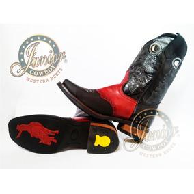 Bota Vaquera Rodeo Vino/negra Junior Cowboy Envió Gratuito.