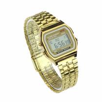 Relógio Casio Digital Pulseira Aço -alarme - Dourado