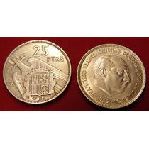 Moeda Espanha, 25 Pesetas 1957, Belo Belo E Raro Exemplar