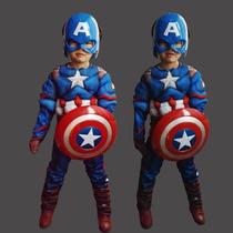 Novo!!!fantasia Capitão América Infantil Luxo Músculo P M G