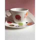 Conjunto De Píres E Xícara De Chá Cerâmica Branca C Desenhos