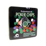 Kit Poker 100 Fichas 2 Baralhos Botão Dealer Na Lata ./ 0833