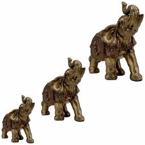 Estatueta Trio De Elefantes Indianos Dourados Sorte Sabedori