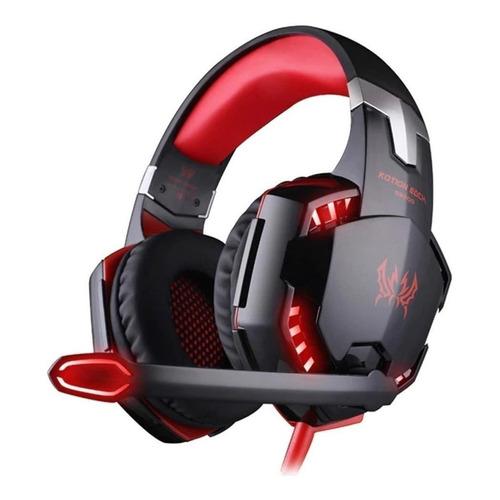 Audífonos gamer Kotion G2000 negro y rojo con luz LED