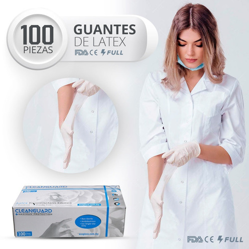 Guantes Latex Exploración Examinación Uso Médico Sin Polvo