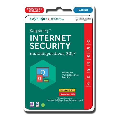 Kaspersky Internet Security Renovacion 3 Pc 1 Año Original