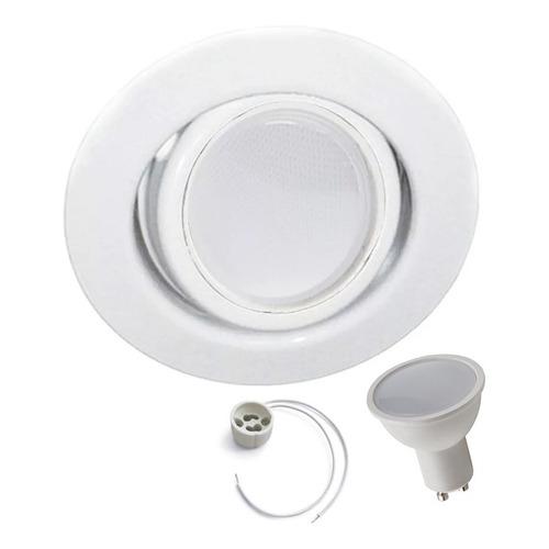 Spot Embutir Blanco Circular Con Dicroica Led 7w Pack X10