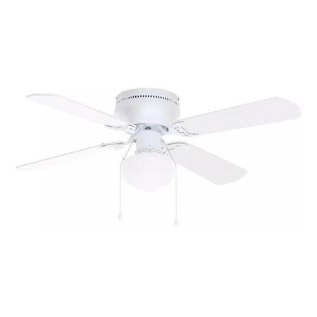 """Ventilador de techo Littleton 112044 blanco con 4 aspas color  blanco y roble blanqueado de  mdf, 42"""" de diámetro 120V"""