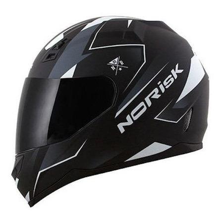 Capacete para moto  integral Norisk FF391  Stripes  black e white tamanho 60
