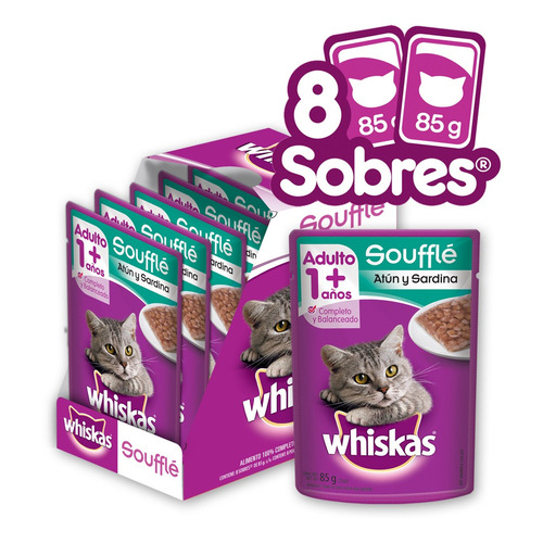 Whiskas Alimento Húmedo Gato Atun Y Sardina Souffle 8 Sobres