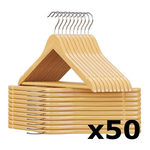 Pack De 50 Perchas De Madera Lustrada Y Barnizada 1° Calidad