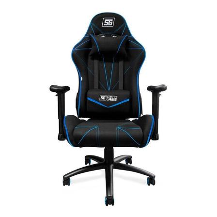 Silla de escritorio Vorago CGC-500 gamer ergonómica  negra y azul con tapizado de tela