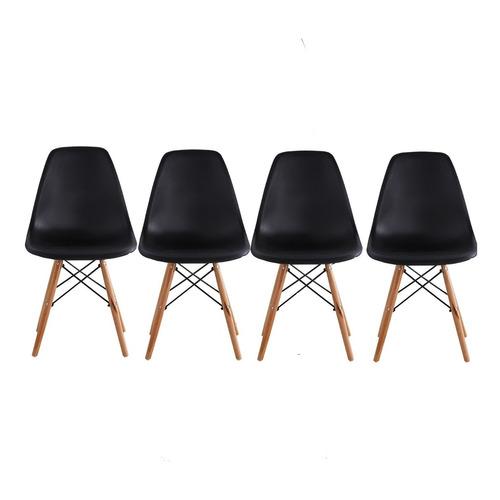 Set De 4 Sillas Modernas Eames Negro Begônia