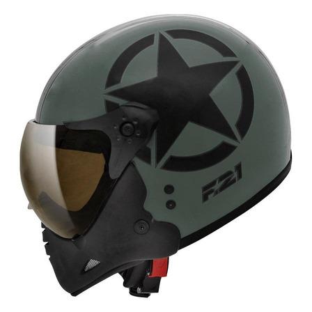 Capacete para moto  escamoteável Peels  F-21  verde-militar e preto army us tamanho 58