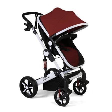 Cochecito de bebé Belluno Baby Cagliari de paseo bordó con chasis blanco