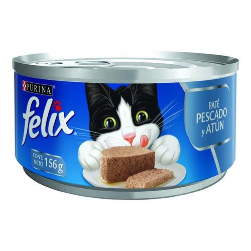 Alimento Felix Paté para gato adulto sabor pescado/atún en lata de 156g
