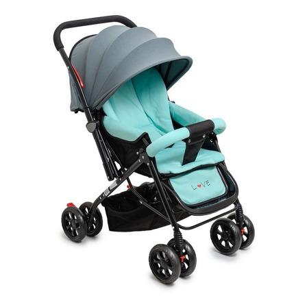 Cochecito de bebé Love 172 de paseo aqua 03 con chasis negro