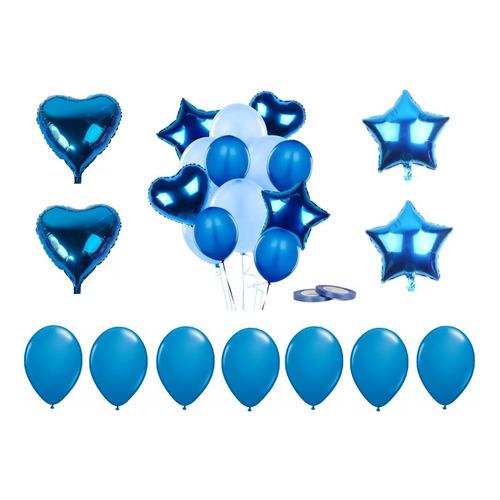 Set 28 Globo Metalizado Estrella Corazón Fiestas Cumpleaños