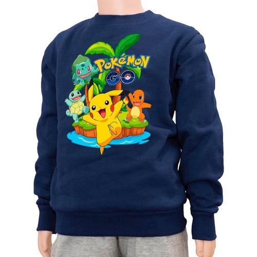 Buzo Niño Pokemon Go Pikachu  Algodon Felpa 100% Abrigable